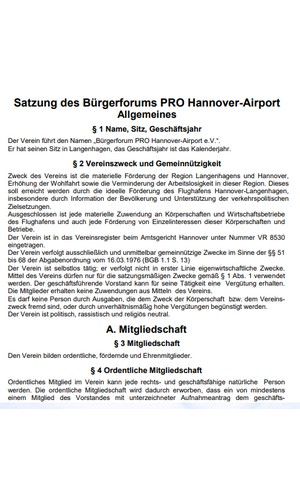 Satzung PRO Hannover-Airport